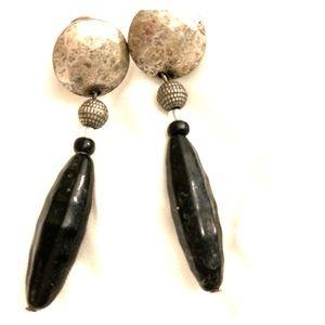 Bohemian glass clip dangle drop earrings. Vintage